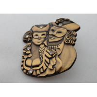 3D Zinc Alloy, Aluminum, Stainless Steel Lapel Pins / Soft Enamel Pin with Rhinestone, Antique Gold Plated Manufactures