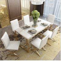 China Stainless Steel Base Tempered Glass Marble Dining Table 6 chairs on sale
