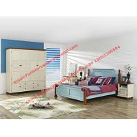 Mediterranean Leisure Style bedroom furniture in blue sky painting wood bed in European winery modelling Manufactures