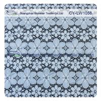 Nylon Spandex Elastic Blue Floral Lace Fabric Trim For Lady Garment Manufactures