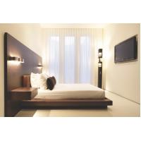 Hotel Furniture Wood panel cleats to wall Headboard with attached Upholstered headboard and two floating nightstands Manufactures