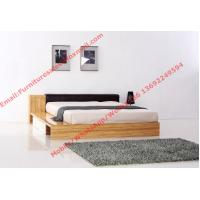 Modern bedroom furniture by melamine MDF storage Bed and leather upholstery headboard Manufactures