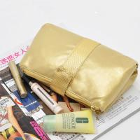 Portable Toiletry PU Leather Folding Cosmetic Bag  Golden Color For Travel Manufactures