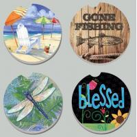 China Factory Wholesale Price 4'' Shiny Round Ceramic Cork Coaster for Gift, Promotion Use, Set of 6 Manufactures