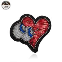 Sew On OEM Beaded Applique Patches Heart Eyes Sequins Material Merrowed Border Manufactures