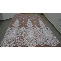 Embroidered Guipure Beaded Lace Fabric Polyester On Nylon Mesh With Flower Manufactures