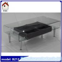 Quality new hot bending glass coffee table with drawer glass top coffee table C-212 for sale
