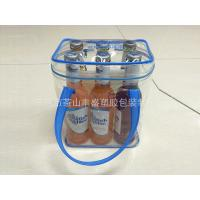 Heat Seal Zipper Blue PVC  Wine Bag , Plastic Ice Wine Bags With Handle Manufactures