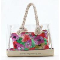 China Lady Transparent Beach Tote Bag Clear PVC Beach Shoulder bag with Sturdy Cotton Rope on sale