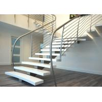 China Stainless Steel Railing Straight Flight Staircase Single Stringer Carbon Steel Central Beam on sale