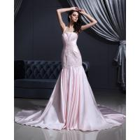 Pink Satin dropped waist Halter Neck Wedding Dresses with chapel train Manufactures