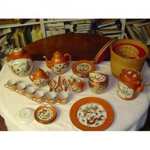 China Rare 34 pc Chinese Dragon Tea set beautiful orange/gold on sale
