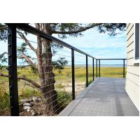 Black wire cable railing with square ss316 baluster wooden top handrail for sale Manufactures