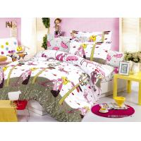Customized Pink Cartoon Printed 100 % Cotton Kids Bed Sheet Sets for Girls Manufactures