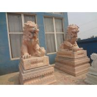 China Hand carving lion Large garden marble life size stone animal statue on sale