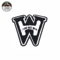 W Letter 3D DIY Chenille Patch , Small Iron On Patches Cutomized Shape Manufactures