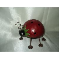 China Red color ceramic Ladybug Animal Garden Statues stands for decorating on sale
