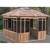 Beautiful hexagonal wooden gazebo Poly Cotton Sail Material with Aluminum Alloy Frame