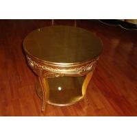 Round Golden Wooden Coffee Tables Hotel Guestroom Furniture Use Manufactures