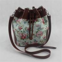 China Calico Printing Canvas Women Tote Bags / Crossbody Shoulder Bags With Natural Material on sale