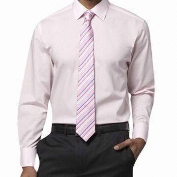 Men 39 s dress shirt non iron double cuff semi spread for Semi spread collar shirt
