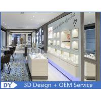 Matte White Coating Jewelry Wall Display Cases With Led spot / Logo Manufactures