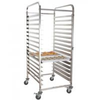 Stainless-steel baking tray trolley with 4 casters and 2 brakes for Kitchen tray Manufactures