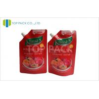 Red Block Clear Bottom spout pouch packaging For Shower Scrub Manufactures