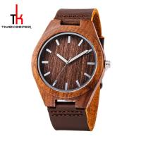 China Personalised Natural Wood Watches , Waterproof Wood Watch Leather Strap on sale