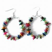 China Handmade Multicolor Circle Earrings, Made of Metal Beads, Wooden Beads and Abnormity Stones on sale