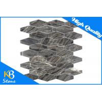 "Quality Hexagon Dark Emperador Marble Mosaic Tiles Meshed on 12"" x 12"" 10mm Thickness for sale"
