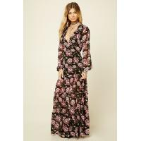 Floral Print Sexy Womens Chiffon Formal Dresses V Neck Long Sleeve Multi Colors Manufactures