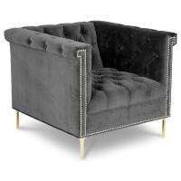 Hot sell tufted botton velvet accent chair, living room furniture single lounge sofa chair Manufactures