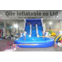 Quality blue inflatable wet & dry slide with pool,pool can removed ,double wave slide for sale