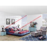 Blue and white strip Upholstered furniture bedding ship type headboard with pillow and fabric surronding bedstead Manufactures