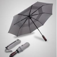Double Canopy Layer Automatic Open And Close Compact Umbrella Vented Grey Color Manufactures