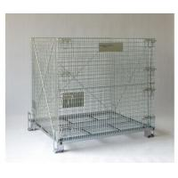 China Wire Mesh Container Heavy-Duty Rigid Rolling Collapsible Wire Mesh Container With Caster on sale