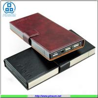 Buy cheap Li-polymer 10000mah power bank with metal case and leather material from wholesalers