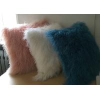 White Fuzzy Decorative Pillow, Extra Long Curly Mongolian Lambswool Cushion