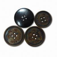 China 36L Real Horn Buttons with Burning Effect, Customized Designs and Logos are Accepted on sale