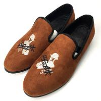 Embroidered Orange Mens Velvet Loafers Rubber Outsole Four Seasons General Manufactures