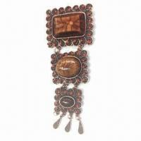 Antique Metal Alloy Brooch with Resin Beads/Rhinestone, Suitable for Commercial Gift/Party Manufactures
