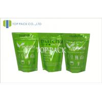 Green Printed Foil Stand Up Zip Pouch , Aluminum Foil Zip Lock Bag 50micron - 200micron Manufactures