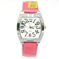 Fashion Quartz Analogue Pink Lady Watch Metal Case With Diamond Manufactures
