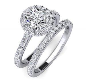 China 9K 14K 18K white gold couple ring setting with mainstone moissanite(6mm),small diamonds JSY00282 on sale