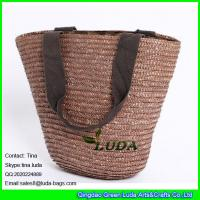 Quality LUDA china straw bag brown wheat straw made basket straw bags for sale
