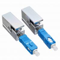 Quality SC Bare Optical Fiber Adapter UPC Single Mode Type Metal Material Square Adaptor for sale