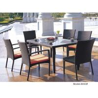 China 7-piece synthetic rattan wicker outdoor dining table with 2 armless chairs & 4 armchairs-8003 on sale