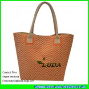 China LUDA wholesale designer handbags fashion paper straw handbags on sale