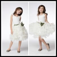 Vintage White Unique Flower Girl Dresses Floor Length Kids Ball Gowns Manufactures